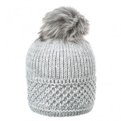 Плетена шапка с помпон 670084 grey